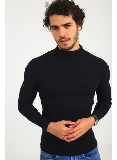 Oksit Joe Extra Slim Body Bogazlı Triko Siyah